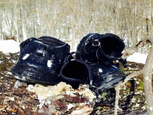 We ditch the hoof boots in a tree after the snow keeps pushing the velcro. We did pick them back up on the way home!