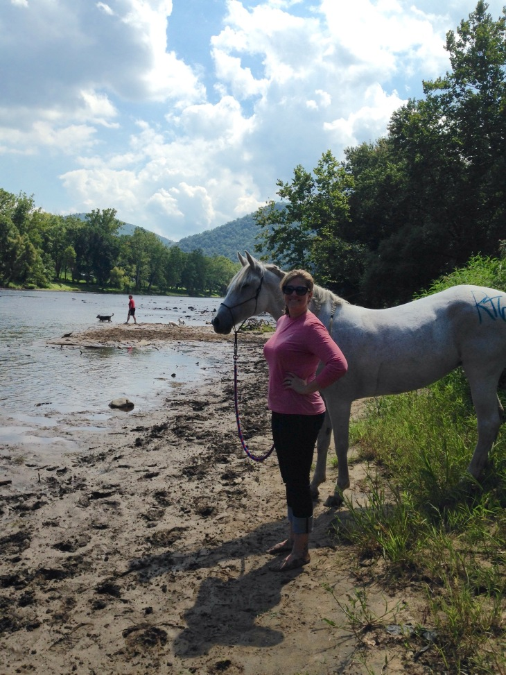 A walk to the New River after the ride with both horses